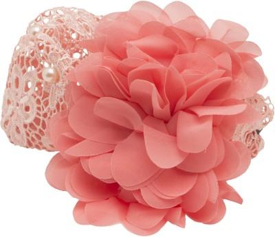 NeedyBee Peach Broad Lace Baby with Chiffon Flowers Head Band