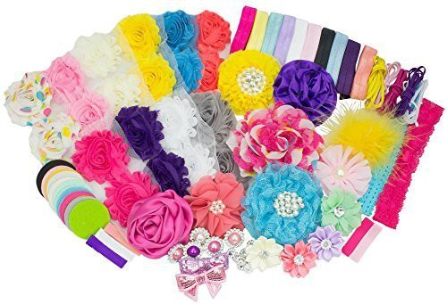 LIKA SUPPLY LLC Baby Shower Headband Station DIY Kit by JLIKA - Make 32 Headbands and 5 Clips - DIY Hair Bow Kit - Birthday Party Collection Head Band(Multicolor)