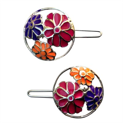 B-Fashionable Neon Flower Round Wire Clasp Hair Pin