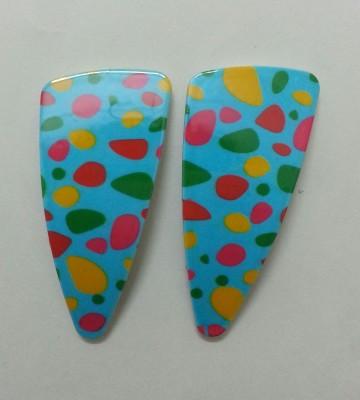 Oshin Enterprises Multicolor Dots On Blue Hair Clip