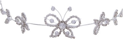 Pink Rose Butterfly Charm Bridal Hair Chain(White)