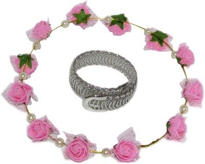 Juhi Pink Tiara with Bracelet Hair Accessory Set