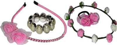 ASMO Pink Floral Hairband, Headband, Rubberband & Bracelet Hair Accessory Set