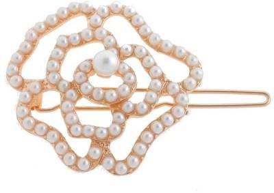 Crunchy Fashion Contemporary Pearl Rose Hair Pin