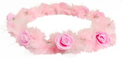 Loops n knots Pink Feather Collection Kids Floral Tiara / Crown/ Headband For Girls & Babies -Hair Accessory For Kids With No or Less Hair Head Band