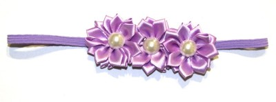BabyCouture Love of 3 Pearls & Flowers Satin Head Band