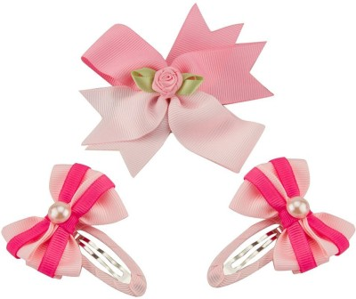 Babies Bloom Diamond Pink Bow and Hair Clip(Pink)