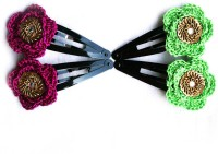 moKanc Tic Tac Clips with Crochet Motifs Hair Clip(Purple, Green)