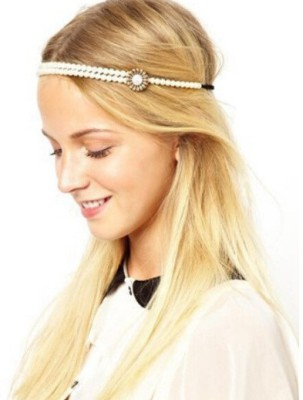 femnmas Simple Pearl Head Chain Jewellery Hair Band