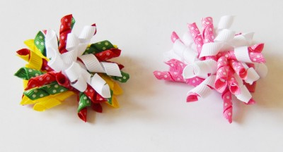 Niyano Curly ribbon Korker hair clips - set of 2 (Hair accessories for girs) Hair Clip
