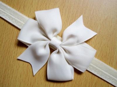Bellazaara BELLAZAARA Baby Girl Boutique White Satin Ribbon Bow Headband Head Band