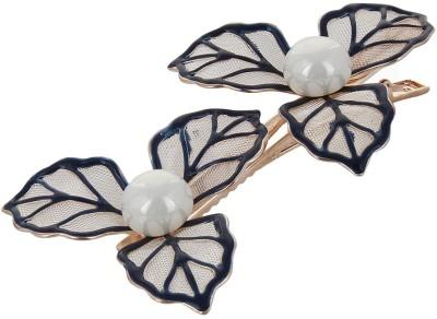 Fayon Fabulous Fashion Black Leafs With Pearl Hair Pin