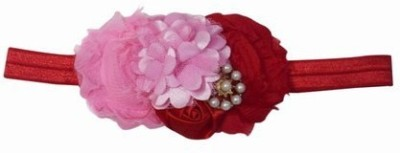 Pink & Blue India Designer Flowers with bow Head Band