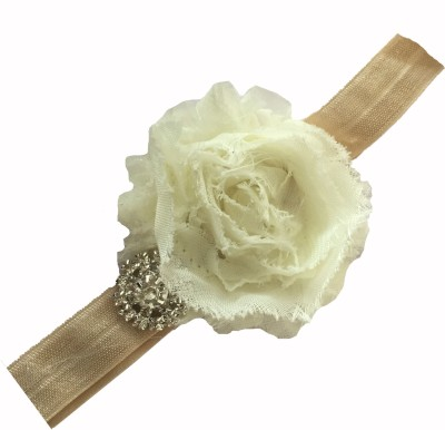 Bellazaara BELLAZAARA Vintage Ivory Shabby Flower with Rhinestone Baby Headband Head Band