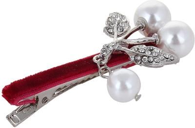 Fayon Chic Stylish White Imitation Pearl Maroon Hair Pin