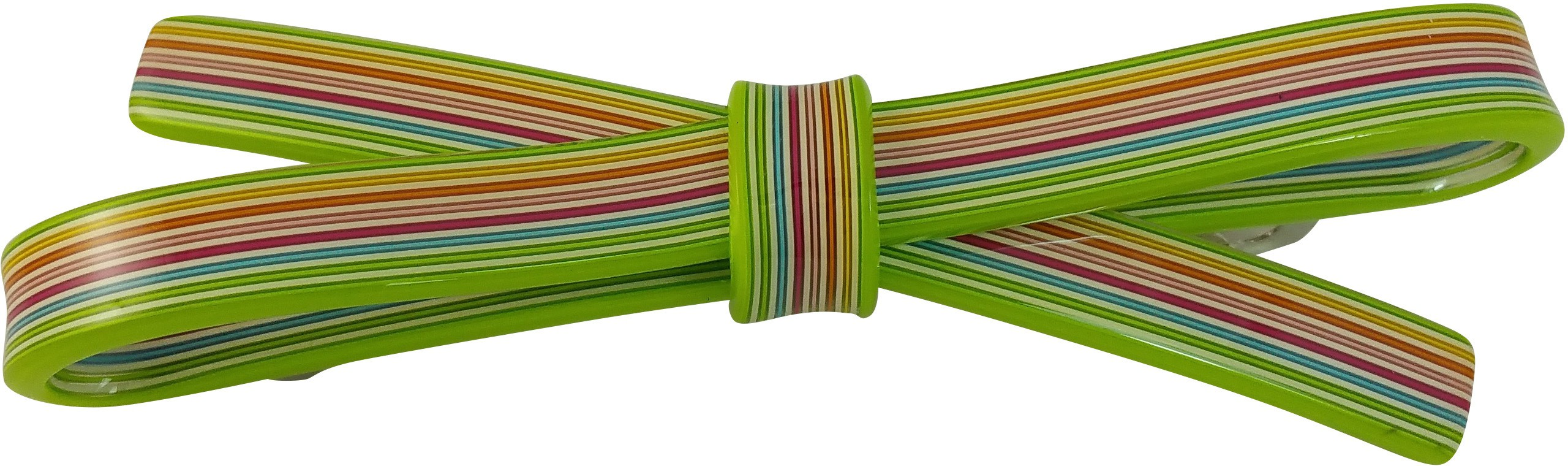 Ammvi Creations 10 mm Multicolur Straight Swatches Pattern Sleek Bow for Women Hair Clip(Green)
