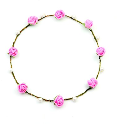 Sanjog Baby Pink paper And Pearl Tiara For Wedding/Party/Beach Head Band