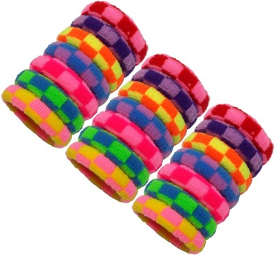 Best & Lowest Soft Multicolor Checks Rubber Hairbands - Set Of 21 Pcs. Rubber Band