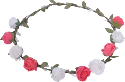 Sanjog Pink And White Flower Tiara Crown For Wedding Party Beach For Women Girls Head Band