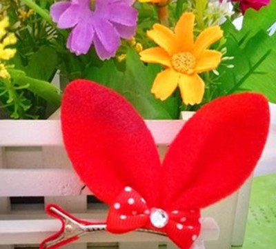 Bellazaara Rabbit Ears Alligator Hairclip : Bright Red Hair Clip