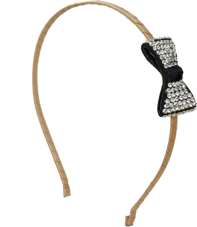 Ammvi Creations CZ Embellished Bow Charm Sleek for Women Hair Band(White)