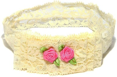 NeedyBee Cream Toddlers Girls Soft Lace with Rose Embellishment Baby Head Band