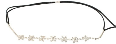 TakeIncart Sparkling Flower Style White Stone Fitted Silver Head Band