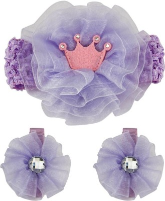 Babies Bloom Purple Ribbon Bow Band and Hair Clip(Blue)