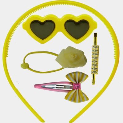 Angel Glitter Yellow Hearts Combo Hair Accessory Set