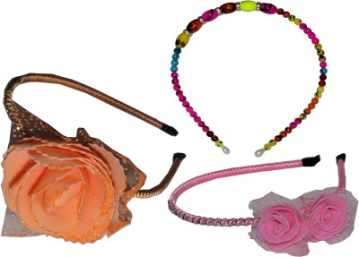 Juhi Multi Color Pearl with Pink & Orange Floral Hair Accessory Set