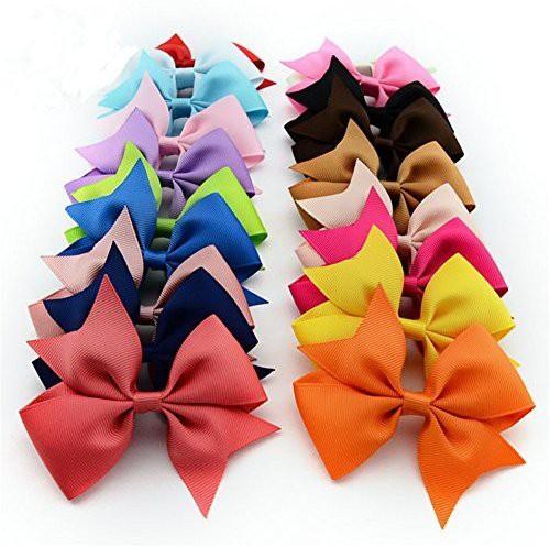 Bzybel ChicStar 20 Pcs 4 Baby Girls Boutique Hair Bows Grosgrain Ribbon Pinwheel Bows Alligator Clips Hair Clips Headbands 20 Colors Hair Clip(Multicolor)