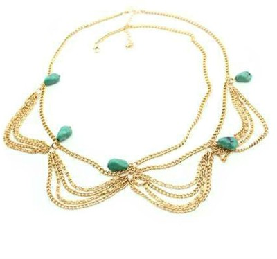 Creative India Exports Bohemian Fringed Turquoise Stones Multilayer Tassel Hair Chain(Multicolor)