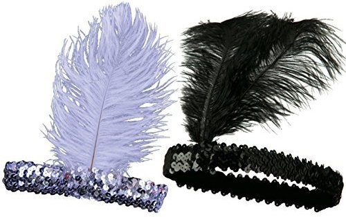 iLoveCos iLoveCos Roaring 20s Headband Sequined Showgirl Flapper Elastic Ostrich Feather Plume Costume Headband Headpiece One size fits Most-Black and White Head Band(Black)