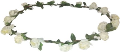 Sanjog Paper Flower White Gracious Tiara Crown Wedding Birthrday Party Head Band