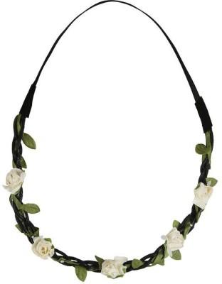 ToniQ Festival Floral White Rose Tiara Head Band