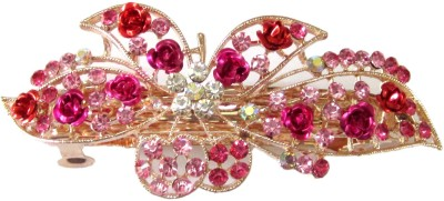 Trendz Collections Pink Rose Floral Hair Clip