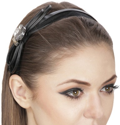 Fayon Contemporary Statement Black Bow Crystal Hair Band