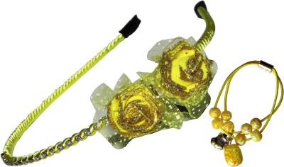GD Yellow Floral Hairband with Braclet Hair Accessory Set