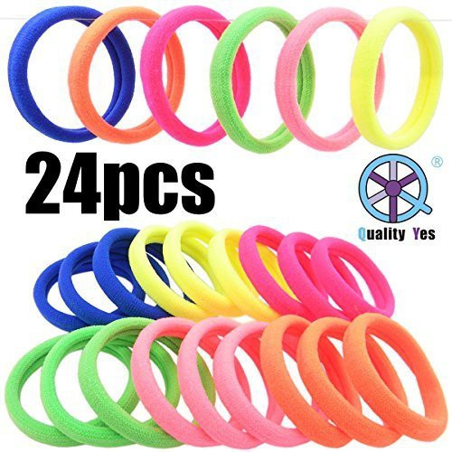 Quality Yes QY 24PCS Bright Color High Super Elasticity Elastic Bands Strong Seamless Elastic Hair Tie Hair Accessory Set(Multicolor)
