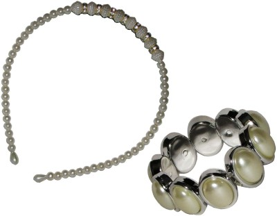 Gd Pearl Hairband with Bracelet Hair Accessory Set