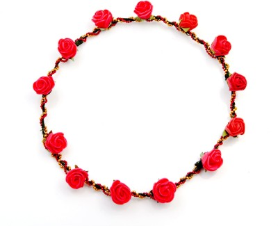 Sanjog Red Roses Flower Vintage Style With Golden Color Chain Tiara Head Band