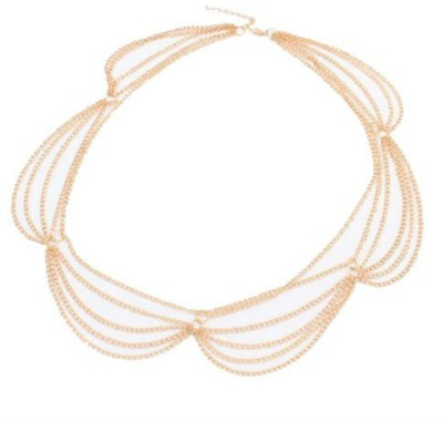 Creative India Exports Women Multilayer Hair Chain Hair Chain(Gold)