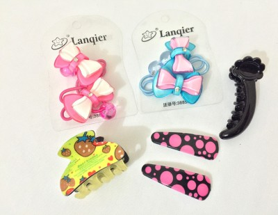 Ecombasket Combo of 8 Cute Baby Girls Tic Tac Clip, Rubber Band, Hair Claw, Banana Clip
