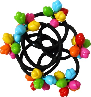 Adbeni Black Nylon Coated With Small Coloreful Flowers Good Choice Rubber Band