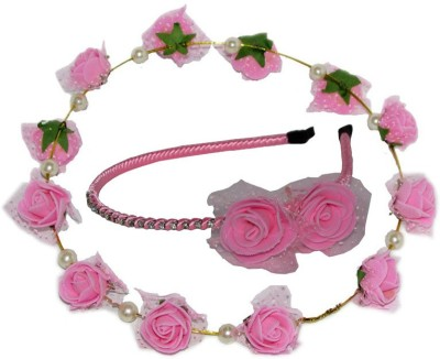 Juhi Pink Tiara with Hairband Hair Accessory Set