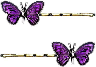 B-Fashionable Purple Enamel Butterfly Bobby Hair Pin