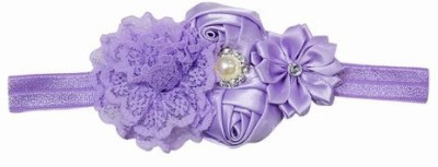 Pink & Blue India Soft Elastic Baby With Flower Bunch Head Band