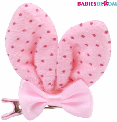 Babies Bloom Imported Bunny Flower Hair Bows Tie Grooming Hair Clip(Pink)