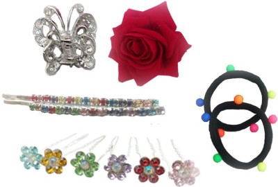 Y & J Set of Juda Pin, Clutcher, Rose Clip, Pins, Rubber Band Hair Accessory Set