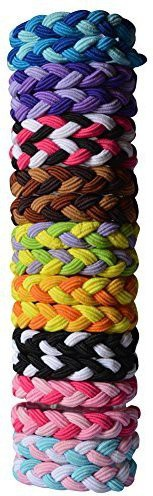 Bzybel Bzybel 18pcs Thick Solid Stretch Pony Elastics Ponytail Holders Hair Ties Hair Accessory Set(Multicolor)